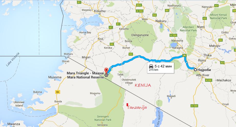 mapa najrobi masai mara